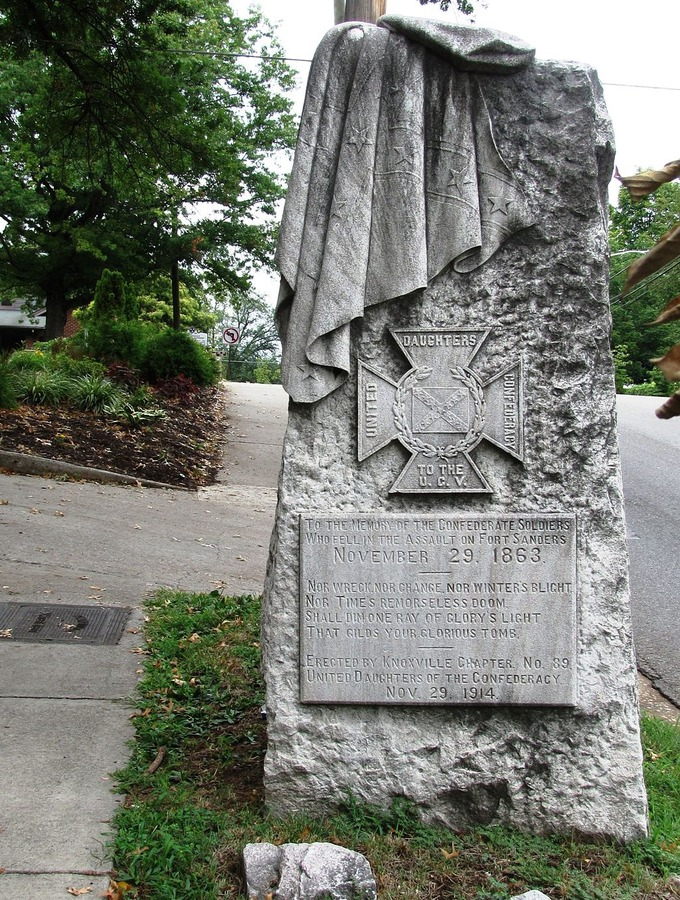"The inscription on the memorial reads: ""To the memory of the Confederate soldiers who fell in the assault on Fort Sanders November 29, 1863. Nor wreck, nor change, nor winter's blight / Nor time's remorseless doom/ Shall dim one ray of glory's light/ that gilds your glorious tomb. Erected by Knoxville chapter no. 89. United Daughters of the Confederacy. Nov. 29, 1914."""