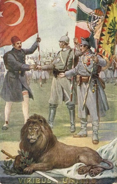 The image shows representatives from the three central powers, each of whom carries the flag of his respective nation, shaking hands. A lion sits holding a sword and holly between its paws in the foreground.