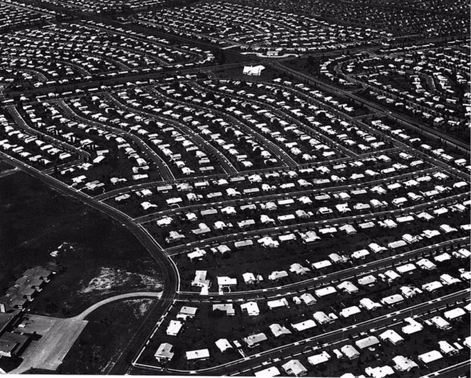 Aerial view of a housing development in Levittown, Pennsylvania.