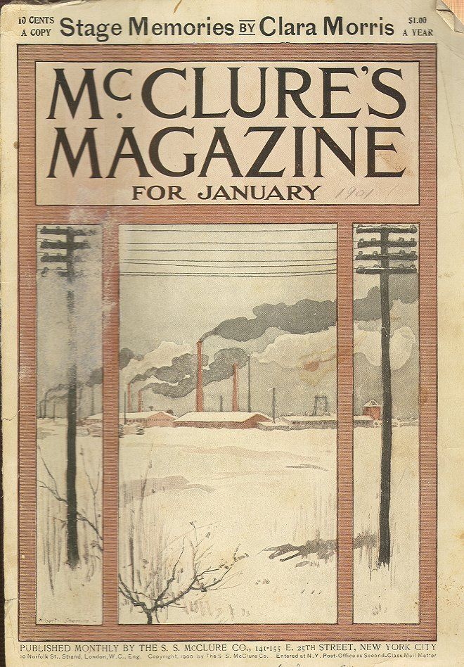 The cover of the January issue of McClure's magazine includes a drawing. Smoke emanates from factory buildings in the background; power lines stand in the foreground.