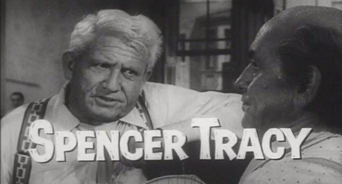 The image is a screenshot from a movie trailer for Inherit the Wind. It shows Spencer Tracy, who played lawyer Henry Drummond.