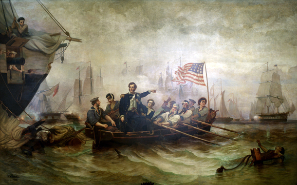 Commodore Oliver Hazard Perry defeats British Navy at the Battle of Lake Erie in 1813. Painting by William Henry Powell, 1873.