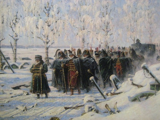 The painting shows Napoleon's army retreating in the snow.