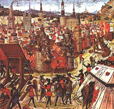 A painting of the capture of Jerusalem in 1099