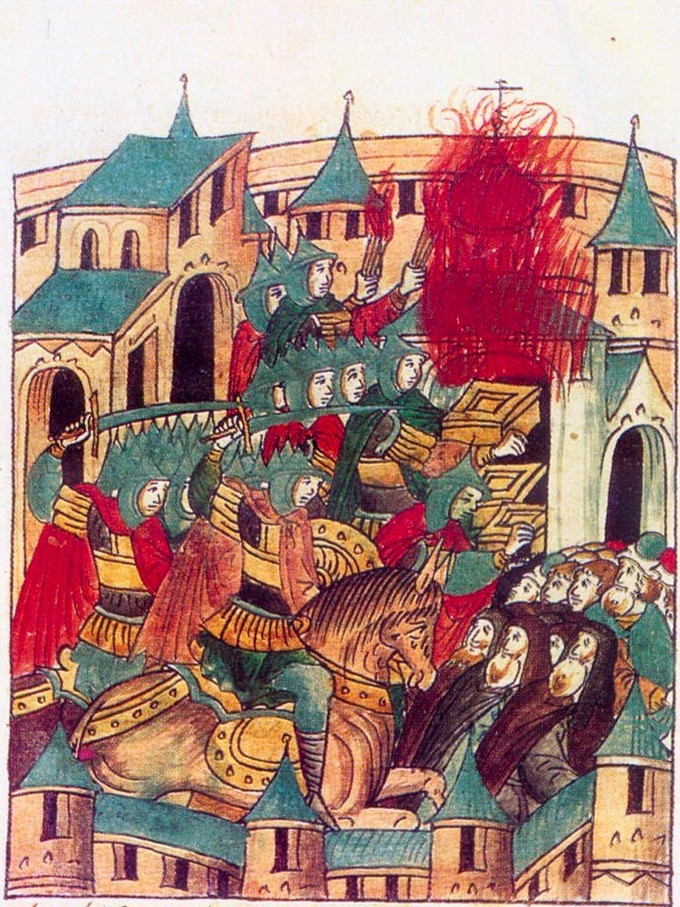 A 16th-century representation of the sacking of the Kievan principality of Suzdal by Batu Kahn in 1238.