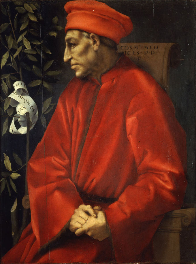 A painting of Cosimo Medici, clothed in red, to his left is a laurel branch and leaves.