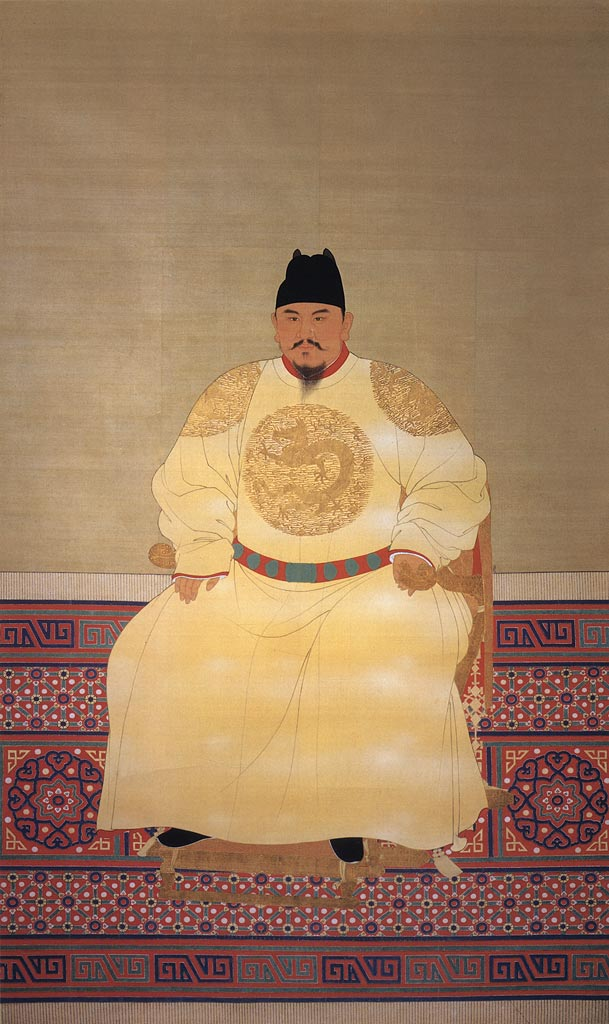 Painted portrait of the first emperor of the Ming dynasty, Hongwu, dressed in a yellow embroidered robe and black hat.
