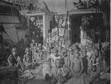 A photo of slaves captured from the Congo aboard an Arab slave ship intercepted by the Royal Navy (1869).