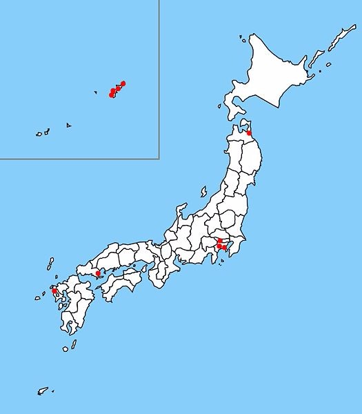 The map shows the location of ten U.S. military bases in Japan.