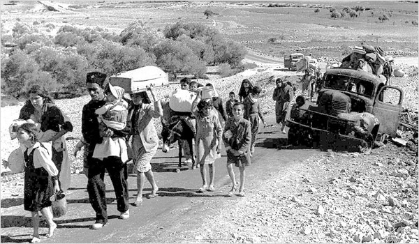 Palestine refugees making their way from Galilee in October–November 1948