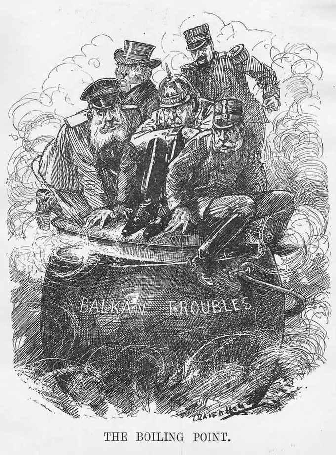 A cartoon depicting Germany, France, Russia, Austria-Hungary, and Britain attempting to keep the lid on the simmering cauldron of imperialist and nationalist tensions in the Balkans to prevent a general European war.