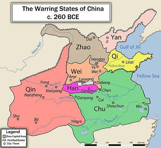 The map shows seven warring states: Zhao, Yan, Qi, Wei, Qin, Han, and Chu.