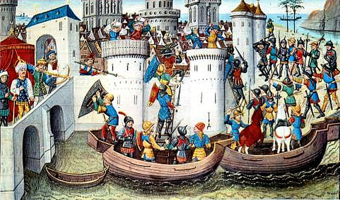 A Medieval painting of the conquest of Constantinople in 2014. In the foreground, crusader ships surround a high-walled castle, with soldiers climbing ladders into the castle and throwing spears. To the right, crusaders stand on the beach, readying their siege. In the castle, soldiers return fire with arrows and spears, and to the left, a Byzantine royal, perhaps the Emperor, watches over the scene.