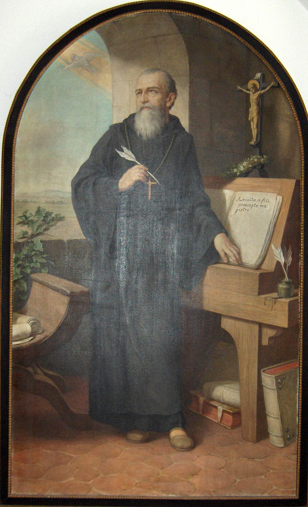 Portrait of Saint Benedict holding a quill. He is standing as he writes, but he is turned away from his paper, looking off into the distance.