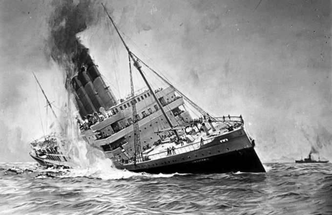 The painting shows a large passenger ocean liner leaning to the side, on fire and smoking, with passengers aboard.