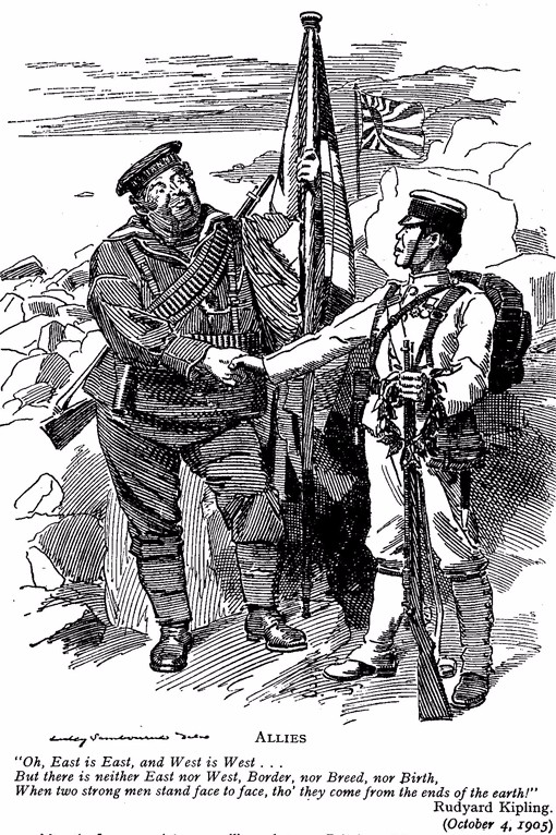 "The cartoon shows a British official and a Japanese official shaking hands. Below the image, a quotation dated October 4, 1905 from Rudyard Kipling reads: ""Oh, East is East, and West is West.../But there is neither East nor West, Border, nor Breed, nor Birth,/ When two strong men stand face to face, tho' they come from the ends of the earth!"""