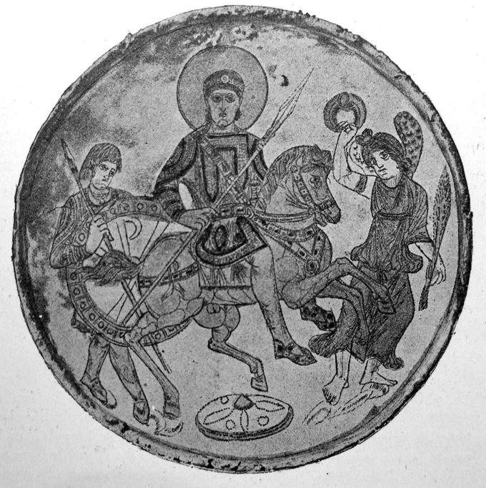 An image of Constantine atop a horse in battle gear with his son and an attendant beside him, one holding his shield with Chi-Rho symbol on it.