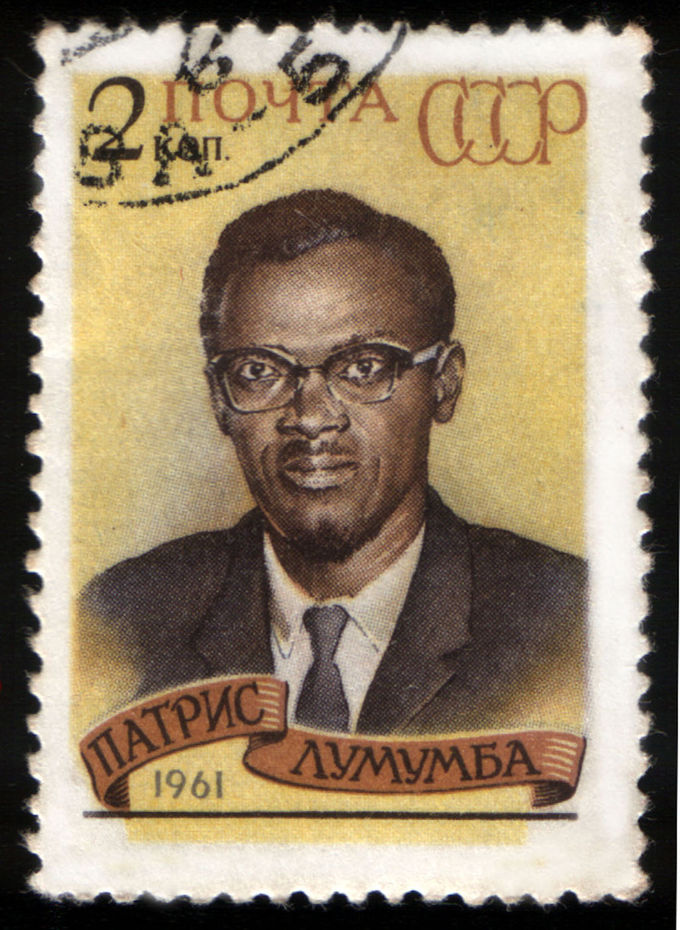 Image of a stamp from the Soviet Union showing the face of Patrice Lumumba, prime minister of the Republic of the Congo.
