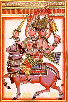 Agni, god of fire, is shown riding a ram.