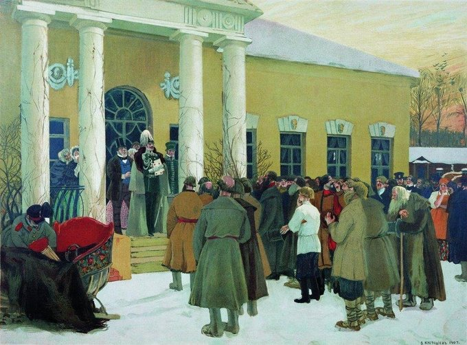 The painting shows few dozen peasants stand around a porch with a nobleman reading from a piece of paper, in front of a yellow house.