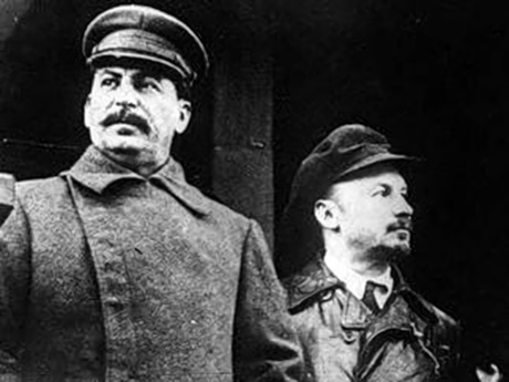 A photo of Joseph Stalin next to Nikolai Bukharin.