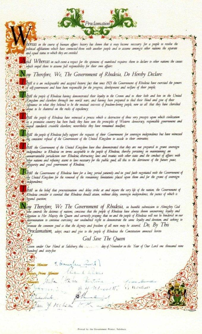 "A photograph of the proclamation document announcing the Rhodesian government's Unilateral Declaration of Independence (""UDI"") from the United Kingdom, created during early November 1965 and signed on 11 November 1965."