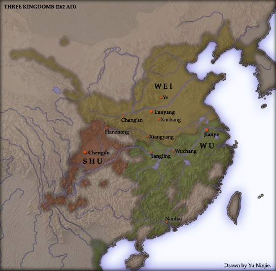 The map shows the kingdoms of Shu, Wei, and Wu.