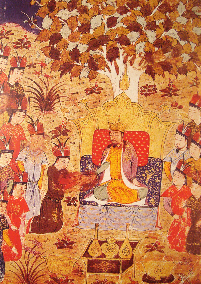 The illustration shows Ogodei sitting on a throne. A large crowd of men surrounds him.