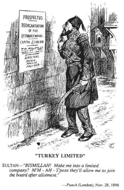 Caricature from Punch magazine, dated November 28, 1896. It shows Sultan Abdul Hamid II in front of a poster which announces the reorganisation of the Ottoman Empire.