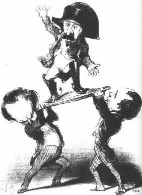 "The cartoon shows two men struggling to hold up Louis Napoleon with a caption: ""Messieurs Victor Hugo and Emile de Girardin try to raise Prince Louis upon a shield [in the heroic Roman fashion]: not too steady!"""