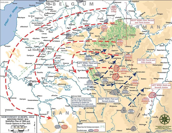 A map of Europe in 1914 showing the possible route of the Schlieffen plan with red dotted lines.