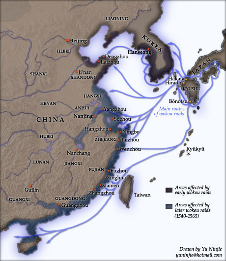 A map of Japanese pirate raids along the coast of China.