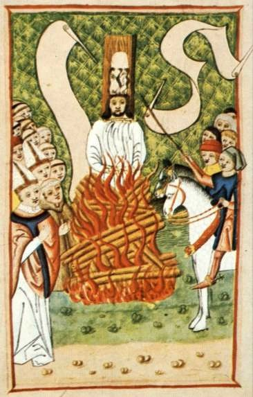 An image of John Hus being burned at the stake, surrounded by both clergy and lay people.