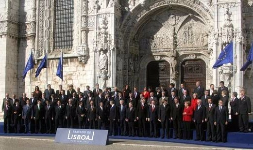 Diplomats standing outside the 15th-century Jerónimos Monastery, which was the venue, having signed the treaty.