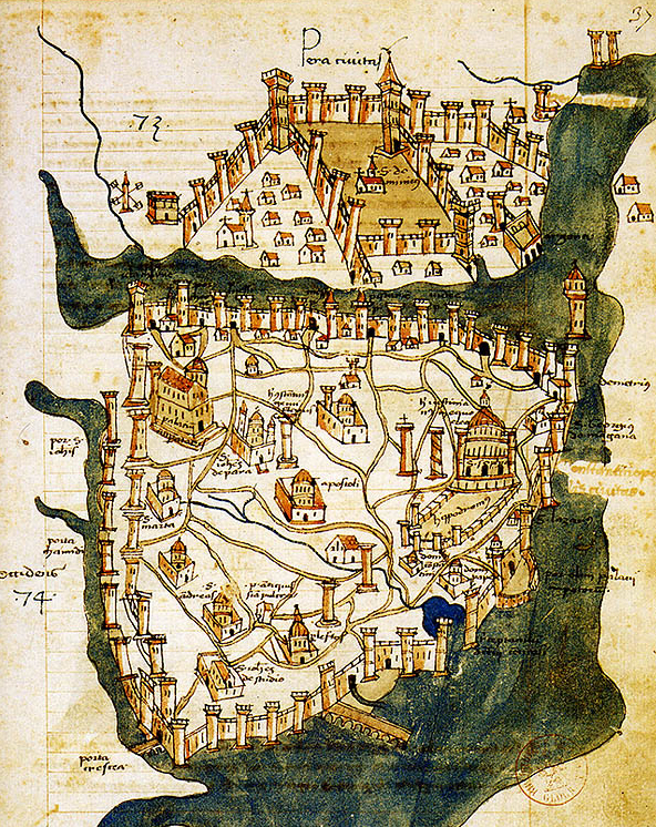 The map shows city streets, notable buildings, the city walls, and surrounding bodies of water.