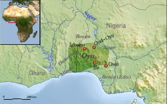 The maps shows Oyo Empire was a Yoruba empire of what is today Western and North central Nigeria, and Eastern Benin.