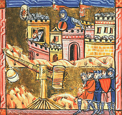 A Medieval painting that depicts the Siege of Acre. Five soldiers in the foreground operate a slingshot. In the background, soldiers defend a high-walled castle, throwing stones on the invaders.