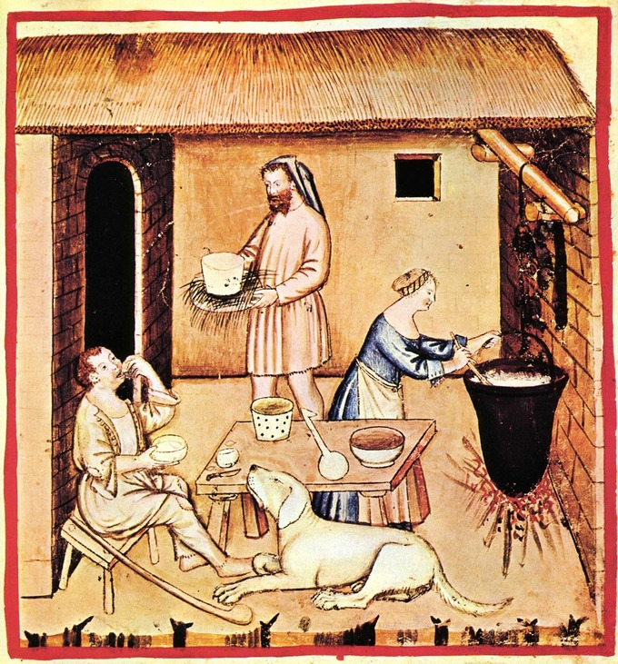 A painting of a peasant home showing a woman brewing cheese and a man carrying food and a man seated a table eating.