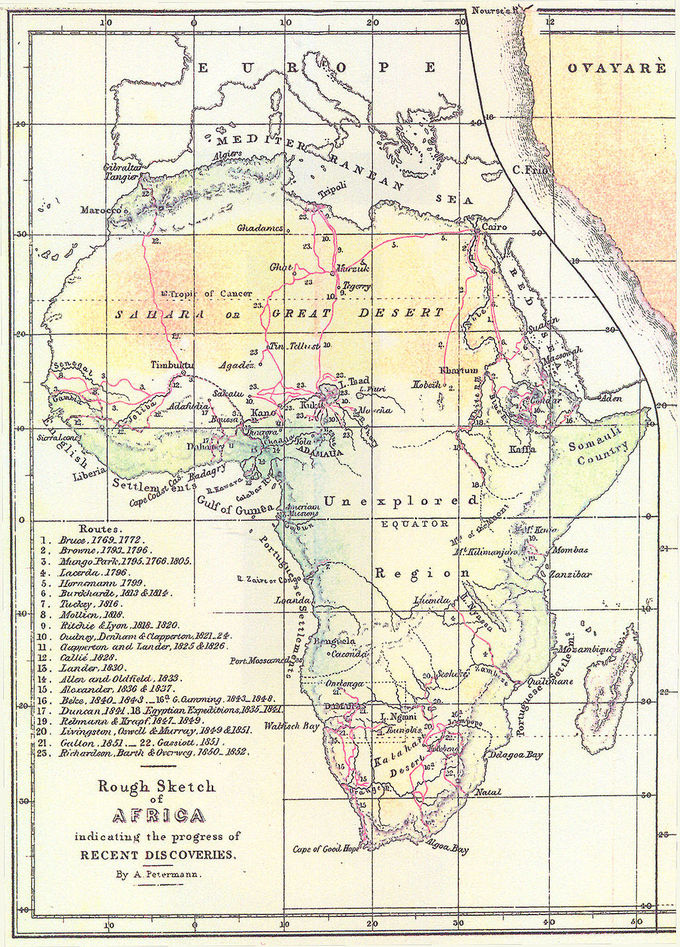 A map showing the routes of European explorers in Africa, depicted as red lines, numbered to correspond with the explorer.