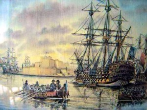 The painting shows Napoleon's ship arriving at the port of Malta.