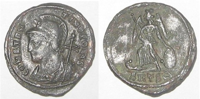 Image of coins from the founding of Constantinople. On the front is a soldier's head with a helmet. On the back is an angel in battle gear.