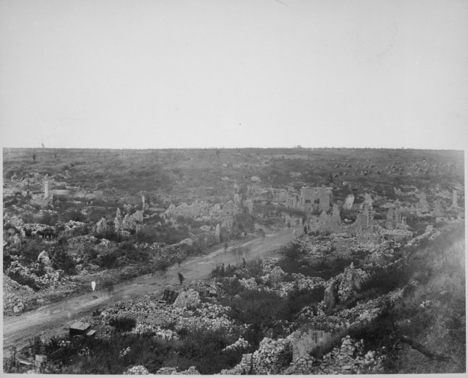 A photo of Avocourt, 1918, a village almost completed razed to the ground by World War I.
