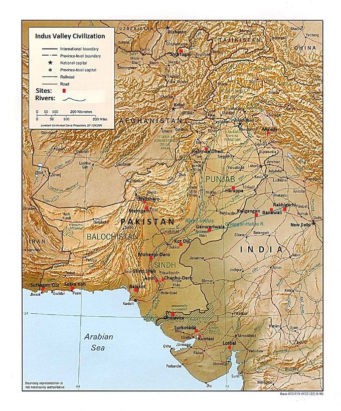 Major sites include Shortugai in Afghanistan; Sutkagen Dor, Sotka Kosh, Belakot, Amri, Chanhu-Darb, Ghazi Shah, Mohenjo-Daro, Kot Diji, Mehrgarh, Natusharo, Ganweriwala, Harappa, and Rehman Dheri in Pakistan; as well as Manda, Rakhigarhi, Banawali, Kaligangan, Dholavira, Surkotada, Kuntasi, and Lothal in India.