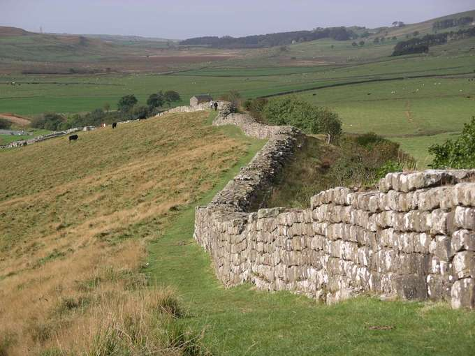 A photo of a remaining portion of Hadrian's Wall, a stone wall about 5 feet high winding along pasturelands.