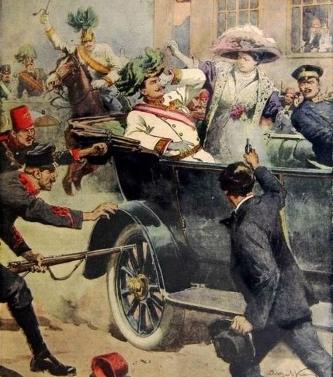 The first page of the edition of the Domenica del Corriere, an Italian paper, with a drawing by Achille Beltrame depicting Gavrilo Princip killing Archduke Franz Ferdinand of Austria in Sarajevo, driving through a busy street in a car.