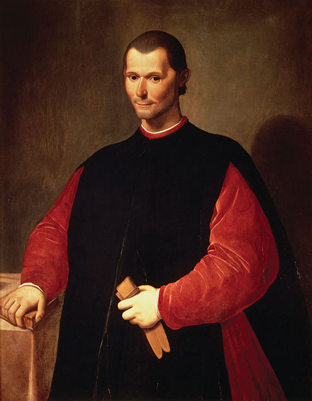 Portrait of Machiavelli showing his holding a book in his right hand and leather gloves in his left.