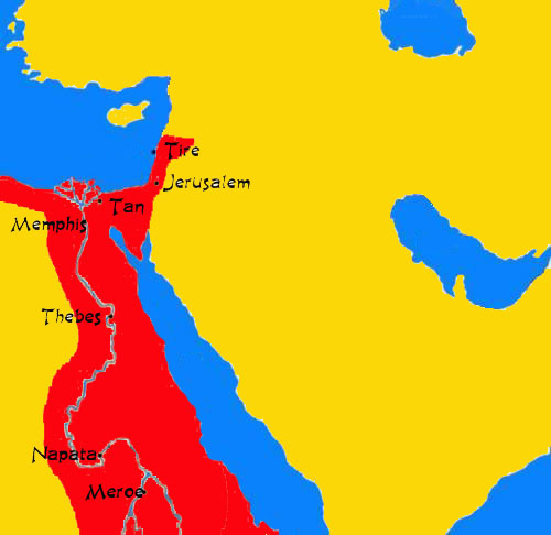 At its peak, the Kushite Empire extended from modern-day Lebanon, southwest to the Nile river delta, and south to modern-day Sudan