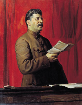 Painting of Stalin in a brown jacket, holding a piece of paper, with red curtains behind him.