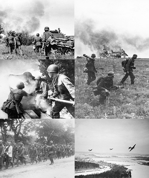 Clockwise from top left: German soldiers advance through Northern Russia, German flamethrower team in the Soviet Union, Soviet planes flying over German positions near Moscow, Soviet prisoners of war on the way to German prison camps, Soviet soldiers fire at German positions.