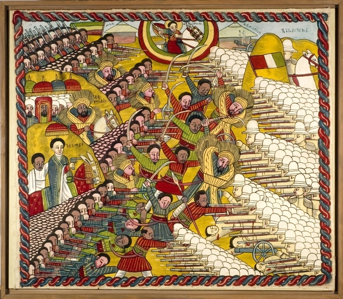 An Ethiopian painting Ethiopian troops defeating the Italian troops during the Battle of Adwa.